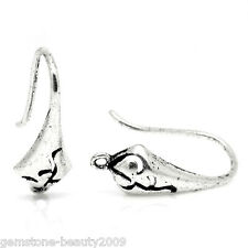 Wholesale HOT Ear Wire Hooks Earring Findings Pattern Carved Silver Tone 18x10mm