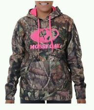 NEW Mossy Oak Women's Camo Hot Pink Logo Performance Fleece Hoodie M L XL 2XL 3X