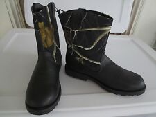 NEW Boy YOUTH Size 5 REALTREE Camoflauge Country Western Boots Cowboy Camo BLACK
