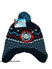 Boys 'THOMAS No1 ENGINE'  Winter Navy Fleece Lined Knitted Bobble Beanie Hat