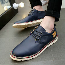 Fashion Men Casual PU Leather Breathable Board Shoes Flat Heel Walking shoes