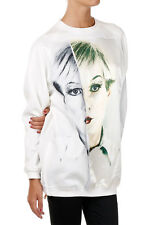 CHRISTOPHER MAKOS PORTS New Woman White face Printed Zip Sweatshirt Tee NWT