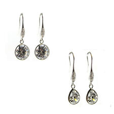 Rhodium Sterling Silver Cz Crystal Charm Dangle French Hook Earwire Earring