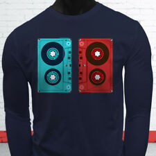 3D CASSETTE TAPE RETRO HIP HOP MIX TAPE RAP 90S Mens Navy Long Sleeve T-Shirt