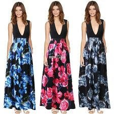 Women Lady Summer Sexy Deep V Neck Floral Boho Long Maxi Party Beach Dress S0BZ