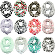 Women's Ladies Casual Soft Stripe Sheer Infinity Scarf Wrap Scarves 20 Styles