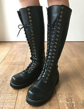 20 Hole Knee Hi Punk Rock Biker Military Combat Vegan Faux Leather Boots No Zip