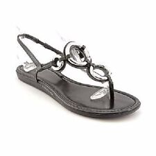 NEW Style&co Dapper Black Faux Leather Thong Sandal with Silver Metal Accents