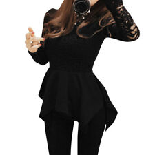 Woman Lace Panel Scalloped Neck Long Sleeve Pullover Peplum Top