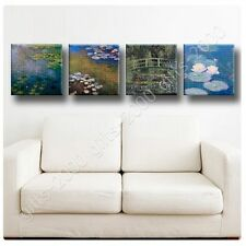 Synthetic CANVAS +GIFT Water Lilies Claude Monet Set Of 4 Poster Wall Decor