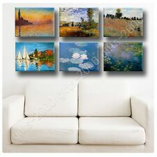Synthetic CANVAS +GIFT Giorgio Landscape Water Lilies Claude Monet Set Of 6