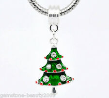 Wholesale HOT!Enamel Christmas Tree Dangle Beads Fit Charm Bracelet