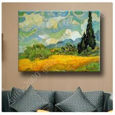 Synthetic CANVAS +GIFT Wheat Field With Cypresses Vincent Van Gogh Painting