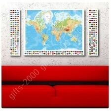 Synthetic CANVAS +GIFT Physical Modern Flags World Map 3 Panels Painting
