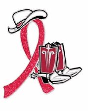 Red Awareness Ribbon Pin Cowboy Western Boots Hat Cancer Cause Support Sparkle