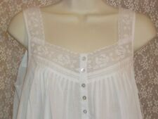 Eileen West S L Nightgown Chemise Cotton Lawn White Sleeveless Lace Strap NWT