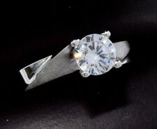 Diamond Wedding Solitaire 1.0 ct Round Cut Ring in Solid 14k White Gold