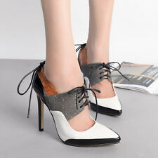 Fashion Mixed Colors Lace Strap Pointed Toe High Heel Pumps Stiletto Women Shoes