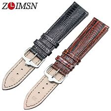 ZLIMSN Men's 18mm 20mm 100% Genuine Leather Black Lizard Grain Watch Band Strap