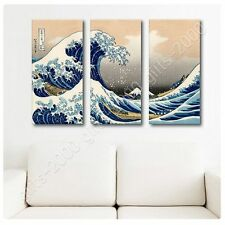 Synthetic CANVAS +GIFT The Great Wave Katsushika Hokusai 3 Panels Paintings