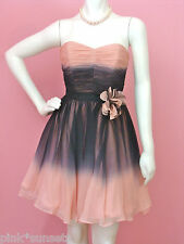 Betsey Johnson Ombre CRINKLE CHIFFON STRAPLESS DRESS SILK PINK BLACK GLEE 2  10