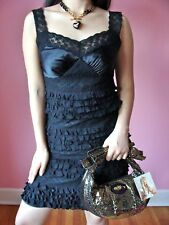 Betsey Johnson Black Ruffle and Lace Silk Dress Cocktail Evening Party $450