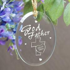 Personalized Godparent Glass Christmas Ornament Godmother Godfather Keepsake
