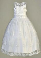 Girls White First Communion Dress Tea Length Sleeveless Organza Plus Size 5-14X