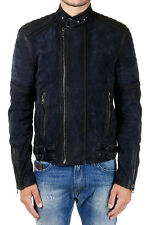 DIESEL BLACK GOLD New Men Dark  Blue Vintage Effect Leather Jacket Made Italy