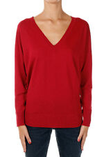 LANEUS New woman red V neck virgin Wool Sweater Pullover Made in Italy NWT