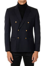 DOLCE&GABBANA New Men Black Wool Silk double Breasted Blazer Made in Italy NWT