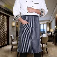 BLACK STRIPED WAITRESS WAITER WAIST HALF/FULL BODY BIB APRON WITH POCKET UNISEX