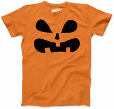 Youth Surprised Pumpkin Face Funny Fall Halloween Spooky T shirt (Orange)