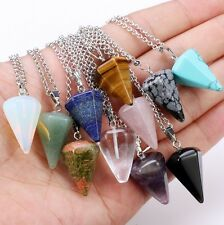 Natural Gemstone Crystal Healing Chakra Reiki Stone Pendant Necklace Bead Gift