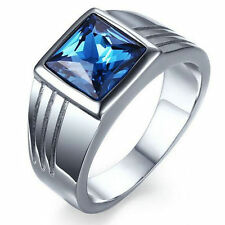 Blue Sapphire Stainless Steel 5 Size Mens Fashion Wedding Ring Gift CHI