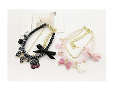 Fashion 2 Colors Multi-Charms Chains Rose Flower Bowknot Pearl Bracelet