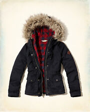 NWT Hollister - Abercrombie&Fitch Heritage Flannel Lined Anorak Jacket Navy XS L