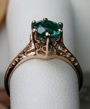 .7ct Natural Green Emerald 14k Solid Rose Gold Filigree Ring Size MTO/Any Custom