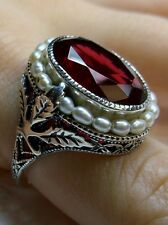 *Ruby* & Pearl Sterling Silver Leaf Victorian Filigree Ring Size {Made To Order}