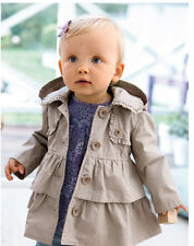 Hooded Toddlers Girls Fall Winter Outwear Wind Jacket Trench Coat Ruffle Clothes