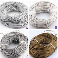 Genuine 2mm Real Round Leather Cord Metallic For DIY Jewelry 5 10 50 100 Meters