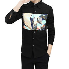 Man Long Sleeves Point Collar Button Down Printed Shirt