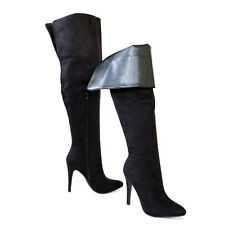 Chic Sexy Stiletto Heel Suede Cuff Down or Thigh Over The Knee High Boots Black