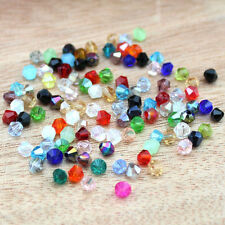 Lots Of 100pcs Faceted Glass Crystal Fingings Loose Bicone Spacer Beads 4mm