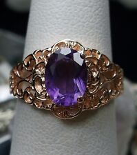 1.3ct Purple Amethyst 14k Solid Rose Gold Victorian Filigree Ring Size: Any/MTO