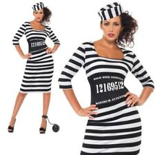 Prisoner Convict Costume Ladies Sexy Fancy Dress Outfit Sizes 8 to 18