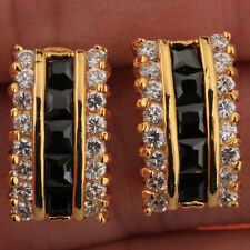 Charming Black Onyx Party Jewelry Gemstones 18k Gold Filled Studs Earrings T0864