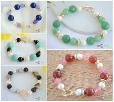 X0102 12mm round faceted bead white freshwater pearl bracelet 8inch
