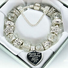 Ladies Personalised ENGRAVED Charm Bracelet ANY MESSAGE Clear Beads Gift Box