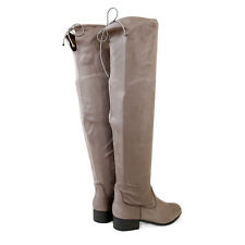 Plus Size Wide Calf Shaft Micro Suede Stretch Over The Knee High Boots Taupe